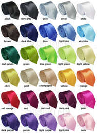 Wholesale 10 New Mens Skinny Solid Color Plain Satin Tie Necktie silk tie black and white necktie silk jacquard woven tie