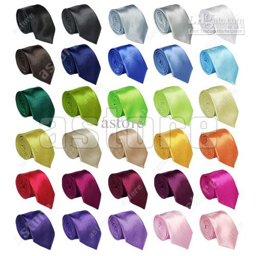 Wholesale 100 Pcs/lot + New Mens Skinny Solid Color Plain Satin Tie Necktie