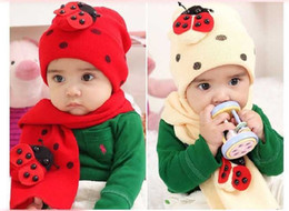 Wholesale 2 piece Baby beanies hats caps Beetle beanies amp scarf cpas baby scarves winter hats Bernat Children s caps scarf neckerchief
