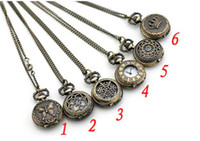 Wholesale high quality Rose pattern brone classical pocket watch Pendant necklace watch