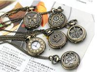 achat en gros de antiquités montre de poche-50pcs mélange de style montre de poche antique avec chaîne, collier classique Montres de poche