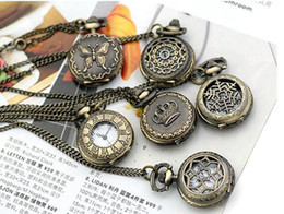 Wholesale 50pcs mix style Antique Pocket watch with chain Necklace Classic Pocket Watches