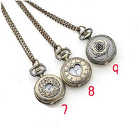 Wholesale 30pcs Hot selling Antique Pocket watch with chain Necklace Classic Pocket Watches