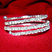 Wholesale Wedding Bracelet Silver Plated Crystal level Spring Shape JB3018