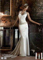 Wholesale 2012 New Halter V Neck Beaded Lace Chapel Train Charmeuse Bridal Gowns Wedding Dress Dresses K
