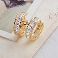 Wholesale New arrival Sparkling k Yellow gold filled Lady s hoop earrings GF jewelry