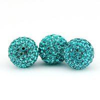 Wholesale 20PCS MM MM MM Jewelry Crystal Beads Capri Blue Rhinestone Disco Pave Balls