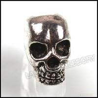 Wholesale 8mm Tibetan Silver Skull Charms Beads Jewelry Accessory Fit DIY European Bracelets