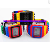 Wholesale 50pcs Classic Plastic Lego SHHORS Digital Watch Candy Night Light Waterproof Unisex Watches