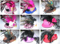 Wholesale Womens Feather Fasinators hat hair clips Bows Veil Bow Feather Barrette NON BRAND