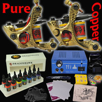 2 Guns Professional Kit 14 color tattoo ink 2 Copper Machines Guns Set Equipment 14 colors Ink Professional Tattoo Kit