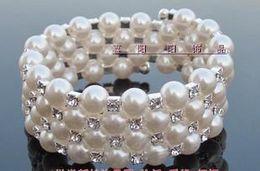Fashion Jewelry Pearl bracelet four rows of Surrounded adjustable diamond pearl bracelet 5PCS