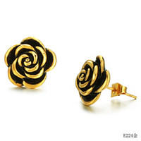 Wholesale gold with black plated rose flower stainless steel stud earrings