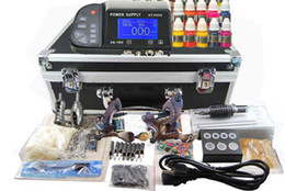 Wholesale 2 Damascus steel Machines Guns Best Power Supply colors Ink Professional Tattoo Kit