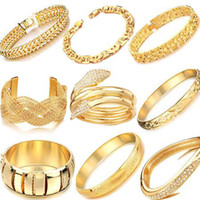 Wholesale MIX ORDER WEDDING JEWELRY K GOLD BRACELET bridal gold bangle chain charm bracelet GP