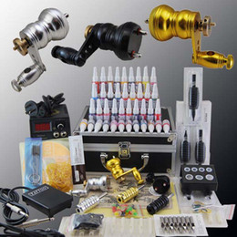 Wholesale 3 Motor Rotary Machines Guns Power Supply Needles Tips Colors ink Pigment Tattoo Kit
