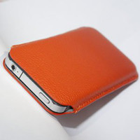 Mobile phone case for iPhone 4 Leather pouch red 100pcs lot ...