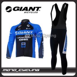 Winter Fleece Thermal 2011 GIANT Long Sleeve Black Cycling Jersey + Bib Pants GA25