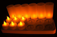 Wholesale 12pcs Rechargeable Flameless Candle Lamp LED Flickering Light Realistic Tea Candles