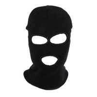 Wholesale SWAT Full Face Protector Three Holes Knit Mask Black