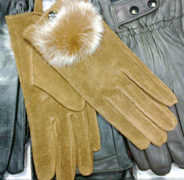 Fur ball Leather Gloves Fur fridged Leather skin gloves LEATHER GLOVES Womens 14pairs lot #1646