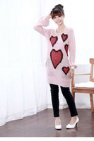 Wholesale 2pcs Women Big Size Heart Shape Long Sleeve Pullovers Midi Pink Hollow Sweaters Womens Apparel b2116