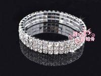 Women's beaded chain swarovski crystals - Fashion jewelry bracelet Three Row Crystal Bridal Wedding Swarovski Bracelet Chain