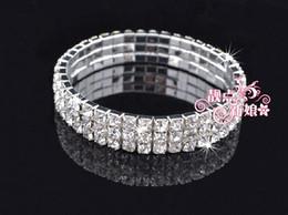 Fashion jewelry bracelet Three Row Crystal Bridal Wedding Rhinestone Bracelet Chain 5PCS
