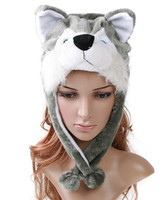 Boy Summer Ball Cap husky wolf lovely hood hoods hoody plush hat winter hats cartoon animal model cap caps headgear