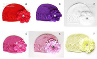 Wholesale 20pcs colors kufi hats crochet hat beanie kufi caps knited beanies with peony flowers