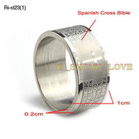 Wholesale Wide Laser Engraved Cross Bible Stainless Steel Rings For Men Men s Rings Ri st23