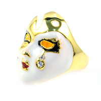 Asian & East Indian beijing jewelry - alloy plating gold Cufflinks Opera Mask The Mask of Beijing Opera jewelry RING RN