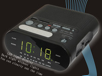 Wholesale Clock radio alarm clock with MP3 MP4 plug big screen U disk SD card Speaker FM
