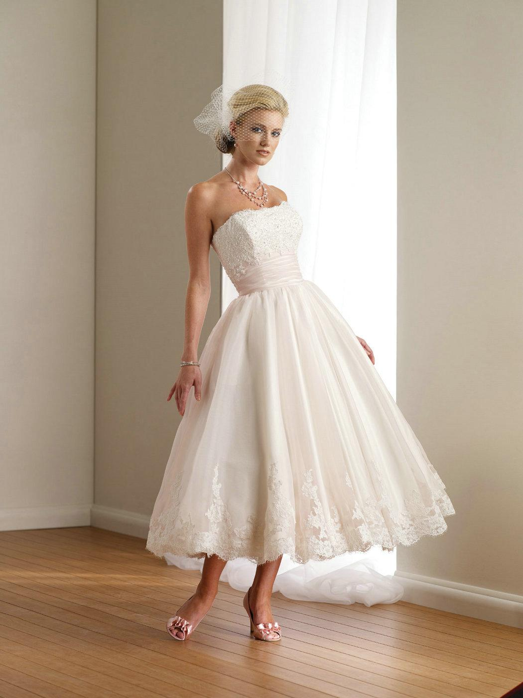 Discount lovely designer lace strapless a line tea length for Wedding dresses under 300