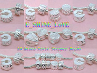 Wholesale Mixed Silver Plate Stopper Beads Clips Lock Fit European Bracelets tmix1