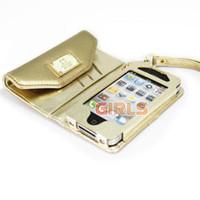 Monedero de lujo PU Casos Funda de cuero de la piel empaqueta la cartera con ranura para tarjeta para el iPhone 4 4S el regalo de Navidad