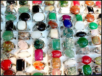 Wholesale Mix Multicolor Natural Stone Ring Gemstone Silver Rings Fashion Lady s Jewelry GM125