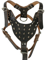 Wholesale Boxer Black Spiked Leather Dog Harness Bullterrier Pitbull quot quot Amstaff Quality guarantee