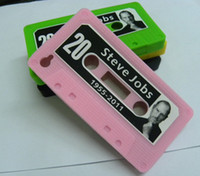 Wholesale 100pcs Hot Steve Job cassette Tape soft silicone cover for iphone S Mix Color