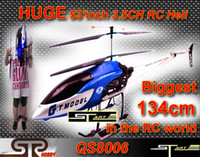 Wholesale XMAS Gift Biggest cm ch Gyro metal frame Speed Model rc helicopter LED lights QS8006 RTF