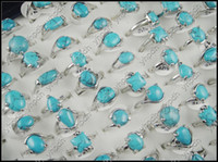 Wholesale Bulk Blue Turquoise Natural Stone Ring Fashion Costume Jewelry Mix Design Mixed Size Gemstone Female Ring