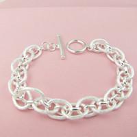 Wholesale Christmas European Frosted Link Charm Bracelet Sterling Silver Fashion Beautiful Bracelets