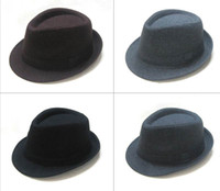 Wholesale Unisex Fedoras Hats Hat Classical Solid Tweed Fedora Hats Winter Warm Caps Black Grey Brown Mix Colo