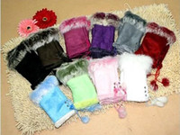 Wholesale 100pcs Rabbit fur gloves rabbit hair FINGERLESS GLOVE gloves Xmas Rabbit Fur HAND