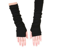 Wholesale High quality lady long arm gloves fingerless warmer gloves knitted arm mittens Cotton black