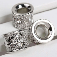 Wholesale 11 x MM Crystal Rhinestone Tube Big Hole Beads Fit Bracelets Metal Alloy European Beads Findings