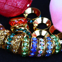 Wholesale 10MM MM Multicolor Rhinestone Spacers Findings Big Hole Crystal Rondelle European Beads