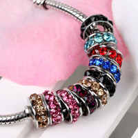 Wholesale 100pcs Rhodium tone Mixed Color Crystal Rhinestone Rondelle Spacers European Big Hole Beads For Charm Bracelet Chain Jewelry Findings