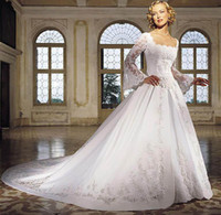 Wholesale 2015 New Collection Square Ball Gown Wedding Dresses Chapel Train Long Sleeves Bridal Gowns with Embroidery Wedding Dress
