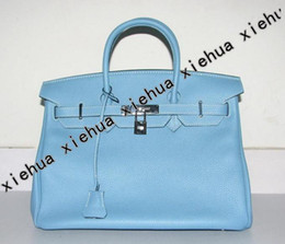 women bag tote 35cm light blue leather with silver hardware .